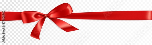Obraz Realistic gift bow. Red ribbon isolated. Vector holiday decoration. Great for christmas and birthday cards, valentine or shopping sale banners. Easy to change colors. - fototapety do salonu