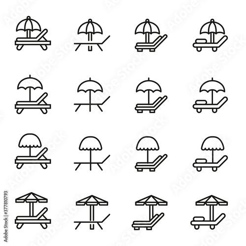 Fototapeta Simple set of sunbed icons in trendy line style.