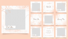 Social Media Template Banner Fashion Sale Promotion. Fully Editable Instagram And Facebook Square Post Frame Puzzle Organic Sale Poster. Orange White Watercolor Vector Background
