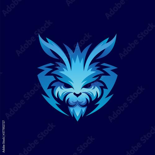 Fényképezés masculine rabbit logo design template