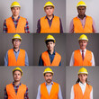 canvas print picture - Collage of multi ethnic and mixed age men construction workers