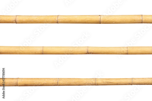Papel de parede Bamboo rail or fence isolated on white background with clipping path