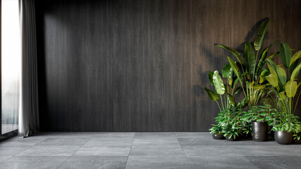 Black interior with wood wall panel and plants. 3d render illustration mock up.