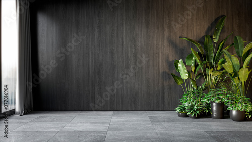 Foto Black interior with wood wall panel and plants