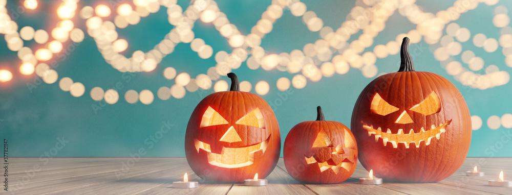 Fototapeta Halloween party. Jack O Lanterns on wood with bokeh  background. 3d illustration