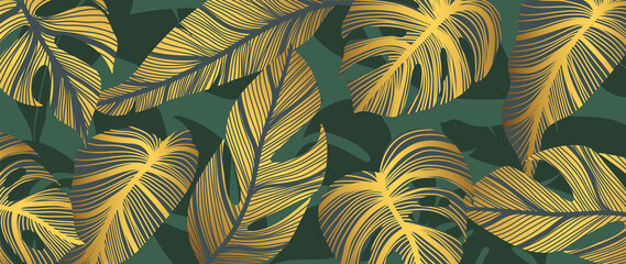 Panel Szklany Egzotyczne Luxury wall art background. Tropical line arts hand draw gold exotic floral and leaves. Design for packaging design, social media post, cover, banner, Gold geometric pattern design vector