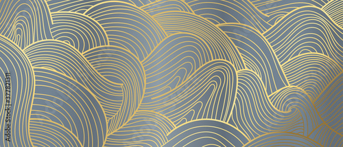 Obraz Luxury Gold line art wallpaper. Wall art background design for home decor, wallpaper, print, cover, website, packaging design. vector illustration. - fototapety do salonu