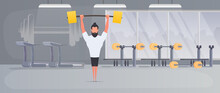 Spotsman With A Barbell In The Gym. A Man Lifts A Dumbbell. The Concept Of Sport And Healthy Lifestyle. Vector.