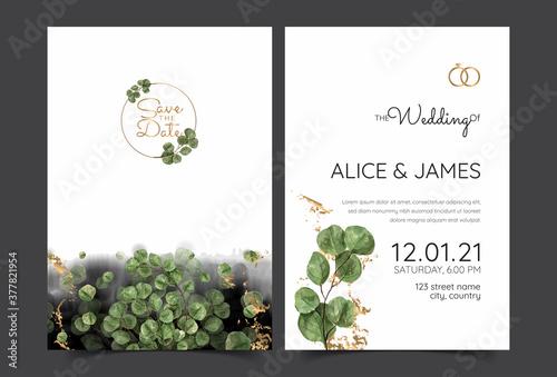 Fototapeta Eucalyptus hearts wedding invitation trio
