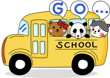 Cartoon Of Little Cute Animal Go To School By School Bus. Simple Cute Hand Draw Line Vector And Minimal Icons Flat Style Character Illustration.