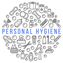 Personal Hygiene Products Circle Banner With Line Flat Icon. Vector Illustration Hygiene For People. Any Text Can Be Used In The Center