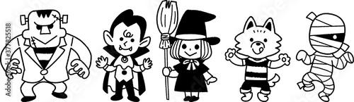 Tablou Canvas モンスターの子供たち モノクロ