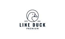 Goose Or Duck Line  In Circle  Logo Design