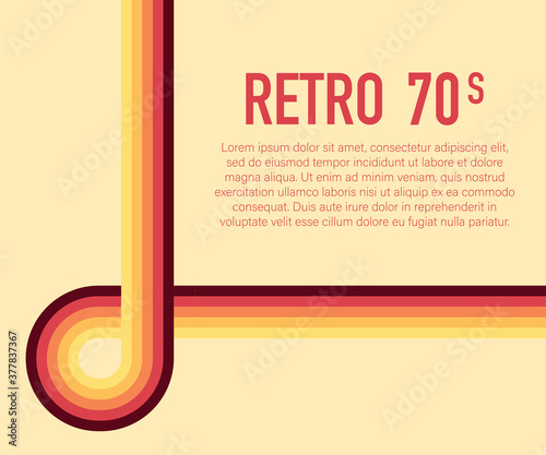 Fototapeta 70s, 1970 abstract vector stock retro lines background. Vector illustration. obraz na płótnie