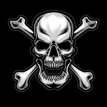 Crossing Bone With Skull Logo Vector