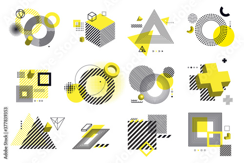 Set of modern abstract elements for graphic and web design. Vector illustration concepts for social media banners and post, business presentation and report templates, marketing material, print design