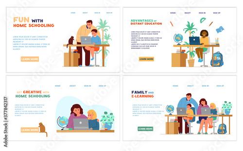 Homeschooling or online education website template set Fototapet