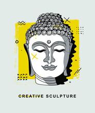 Buddha. Creative Geometric Yellow Style. Vector Illustration Hand Drawn.