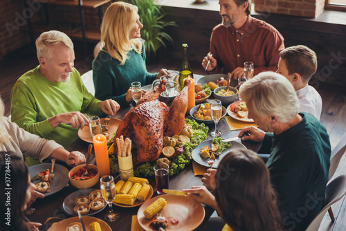 Holiday feast table family relatives gathering thanks giving dinner communicatio Canvas Print