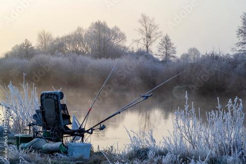 Valokuvatapetti winter feeder fishing