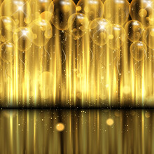 Celebration Background With Gold Balloons