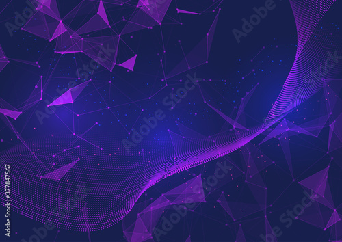 Abstract network communications background with low poly design - 377847567
