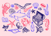Set Of Cute Hand Drawn Elements Of Marine Theme Including Fish, Shells And Other Sea Dwellers. Hand Drawn Marine Collection