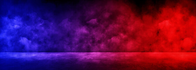 Empty space of Studio dark room with fog or mist and lighting effect red and blue on concrete floor gradient background.