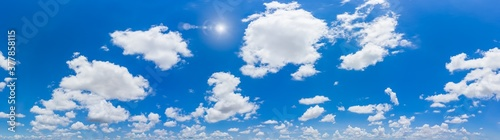 Panorama blue sky and clouds with sun and daylight natural background.