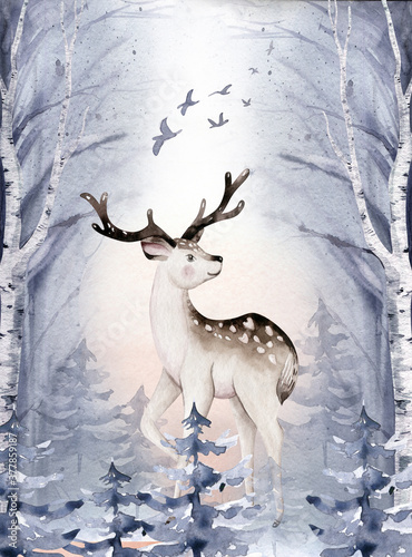 Fototapeta Watercolor winter forest animals deer with fawn, o Wild forest animals card. Hand painted winter illustration obraz