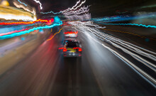 Abstract Of Light Trails From Traffic And Buildings In The City Of London