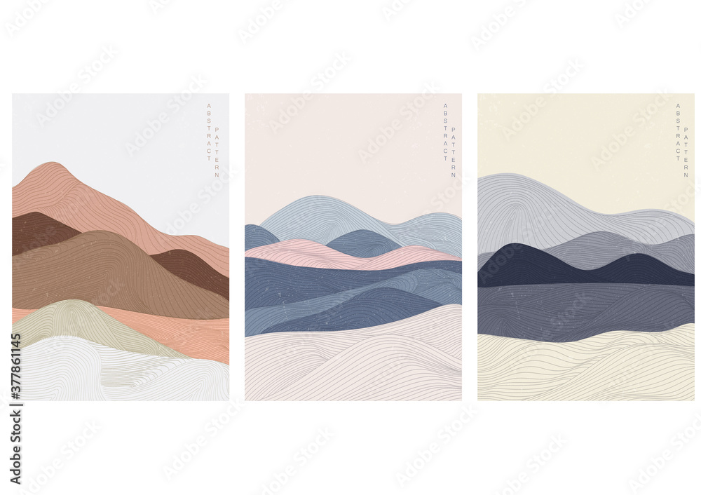 Fototapeta Landscape background with Japanese pattern vector. Curve template with line pattern elements.
