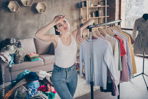 Fototapeta Portrait of her she nice attractive tired exhausted desperate girl organizing space casual assortment trend season wear living-room in modern loft brick industrial interior apartment flat obraz