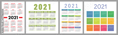 Fototapeta Calendar 2021 year set. Vector template collection. Simple design. Week starts on Sunday. January, February, March, April, May, June, July, August, September, October, November, December obraz
