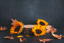 Wooden Podium Or Stand For Product With Sunflowers And Dry Leaves On Grey Stone Background, Dark Still Life