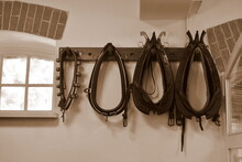Sepia Close Up On A Set Of Various Types Of Harness Ordered From The Thinnest To The Thickest One Handing From The Wall Inside An Old Fashioned Barn Or Farmhouse In Poland Next To A Small Window