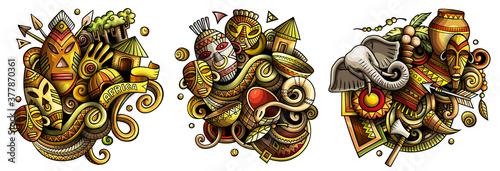 Africa cartoon vector doodle designs set.