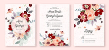 Wedding Invitation Set With Red Peach Flower Watercolor