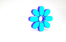 Turquoise Flower Icon Isolated...