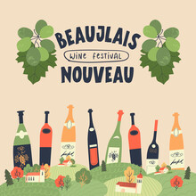 Beaujolais Nouveau. Festival Of New Wine In France. Vector Illustration.