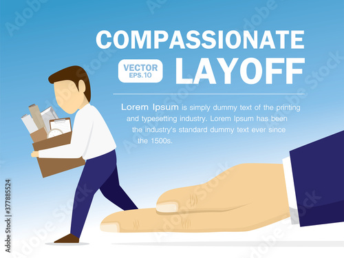 Fototapeta Compassionate layoff illustration vector with copy space.