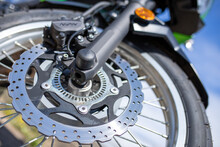 Front Fork/wheel Shot Of A Kawasaki Versys X 300 Adventure Bike