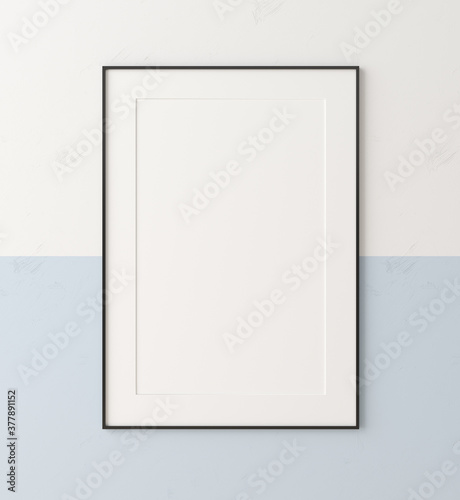 Obraz Mockup poster frame close up on wall painted white and pastel blue color, 3d render - fototapety do salonu