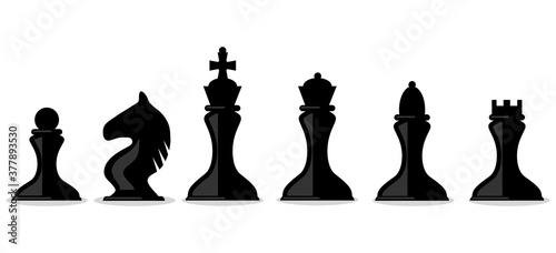 Photo Chess pieces, silhouettes of chess pieces isolated on white background