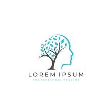 Tree Brain Logo Concept. Human Mind, Growth , Innovation, Thinking, Symbol Stock Illustration