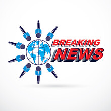 Social Telecommunication Theme Vector Logo Created With Blue Earth Planet Illustration Surrounded With Microphones And With Breaking News Inscription. Press Conference Concept.