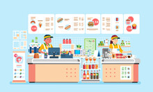 Male And Female Cashier At Fast Food Restaurant With Hamburger, Doughnout, Hotdog, And Many Beverages Vector Illustration