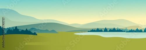 Summer landscape of meadow field Fototapet