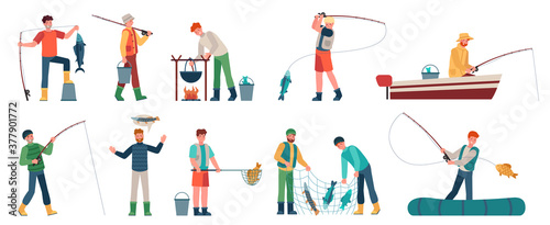 Fototapeta Cartoon fisherman. Fishermen in boats holding net or spinning. Fisher with fish, fishing accessory, hobby angling vacation vector characters. Fishing catch, hobby leisure activity illustration obraz