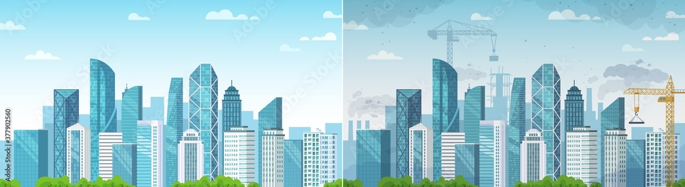 Fototapeta Clean and polluted city. Pollution and environment, ecology and clean area compare with dust town construction. Vector illustration